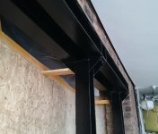 Office extension - steel support for structural wall close-up