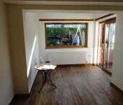 House extension with big window - view from the inside
